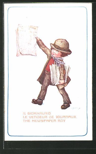 Künstler-AK A. Bertiglia: Newspaper Boy, Zeitungsjunge
