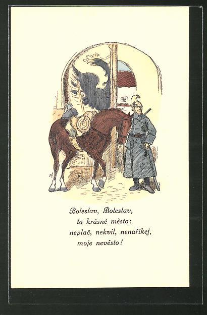 Künstler-AK sign. Mikolas Ales: Polnischer Kavallerist mit seinem Pferd