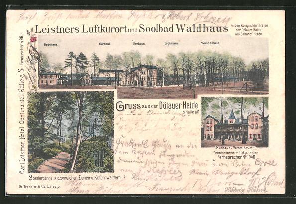 AK Halle / Saale, Gasthaus Soolbad Waldhaus in der Dölauer Haide, Kurhaus