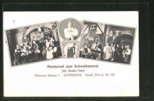 AK Berlin-Schöneberg, Restaurant zum Schwalbennest, Kolonnen-Strasse 7, Innenansicht