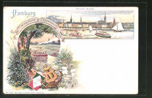 Lithographie Hamburg-Winterhude, Binnen-Alster, Wassertaxi-Linie Winterhude-Eppendorf