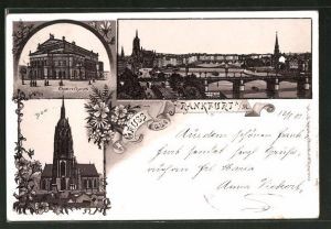 Lithographie Frankfurt, Opernhaus, Ansicht vom Dom, Panorama mit Brücken über den Main