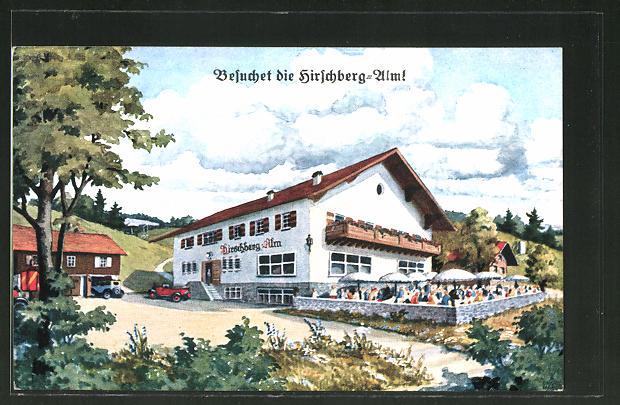 AK Pähl, Blick zum Gasthaus Hirschberg-Alm