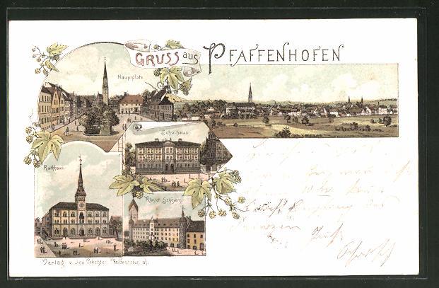 Lithographie Pfaffenhofen, Hauptplatz, Schulhaus, Kloster Scheyern 0