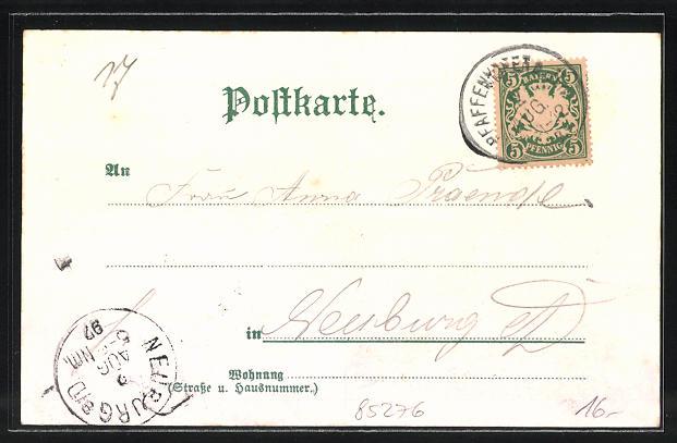 Lithographie Pfaffenhofen, Hauptplatz, Schulhaus, Kloster Scheyern 1