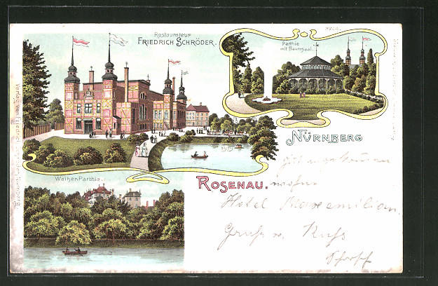 Lithographie Nürnberg-Rosenau, Restaurant Friedrich Schröder, Partie mit Baumsaal 0