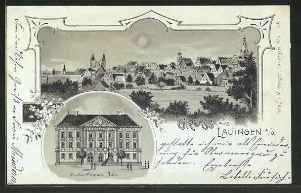 Mondschein-Lithographie Lauingen, Rathaus am Albertus Magnus Platz, Ortsansicht 0