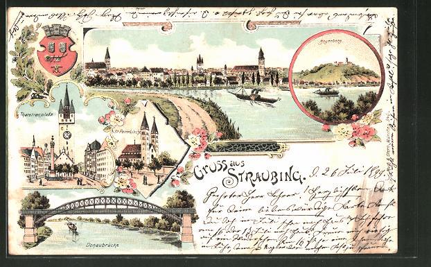Lithographie Straubing, Theresienplatz, Donaubrücke, St. Peterkirche 0