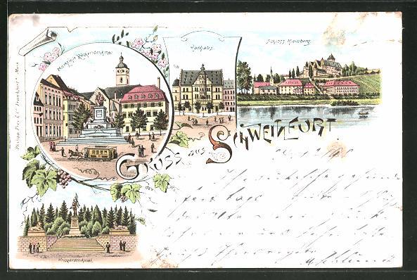 Lithographie Schweinfurt, Markt mit Rückertdenkmal, Rathaus, Kriegerdenkmal 0
