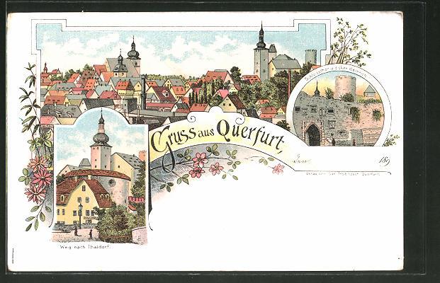Lithographie Querfurt, Strasse nach Thaldorf, Schlossthor und dicker Heinrich 0