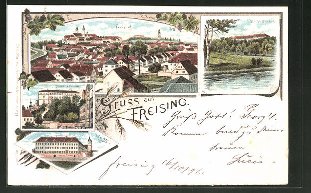 Lithographie Freising, Klerikal-Seminar, Knabenseminar, Panorama 0