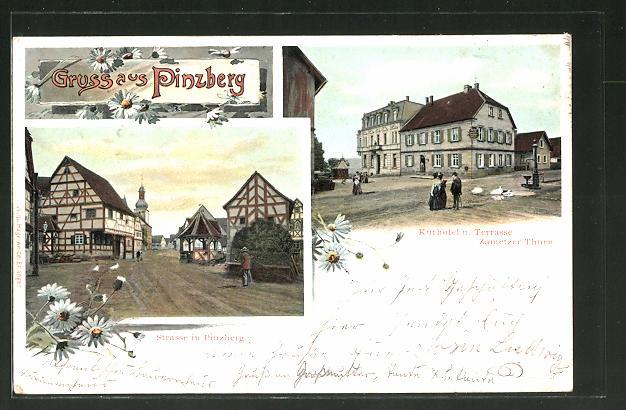 AK Pinzberg, Kurhotel und Terrasse Zametzer Thurn, Strassenpartie 0
