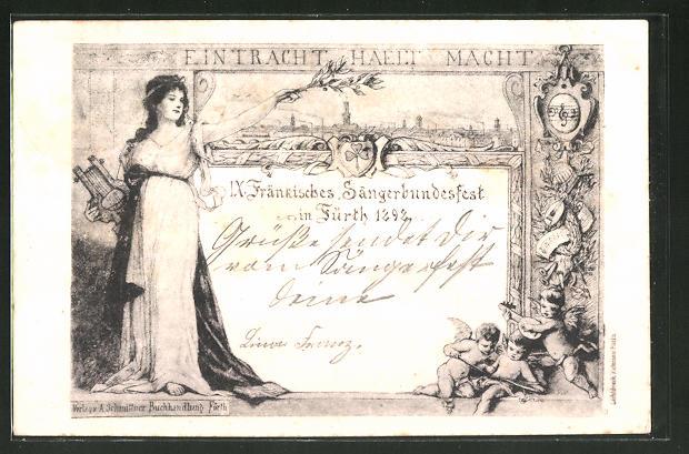 Künstler-AK Fürth, IX. Fränkisches Sängerbundesfest 1898 0