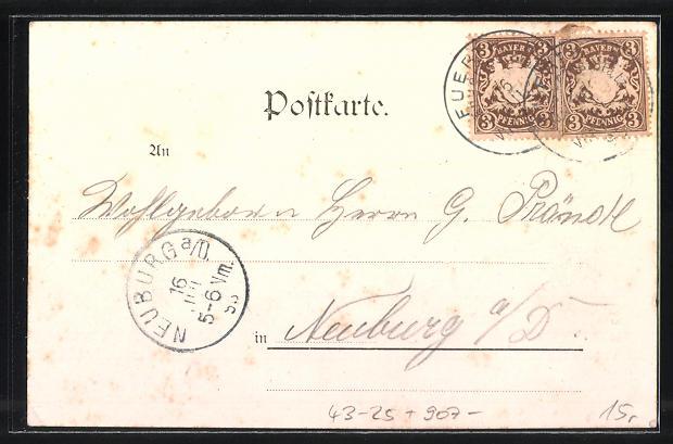 Künstler-AK Fürth, IX. Fränkisches Sängerbundesfest 1898 1