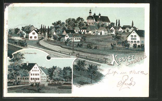 Lithographie Kloster Lechfeld, Gasthaus zur Post, Teilansicht mit Kirche 0