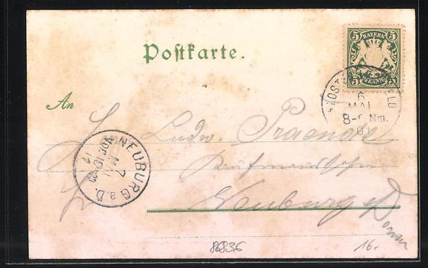 Lithographie Kloster Lechfeld, Gasthaus zur Post, Teilansicht mit Kirche 1