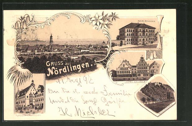 Lithographie Nördlingen, Hotel zur Krone, Neues Schulhaus, Rathaus 0