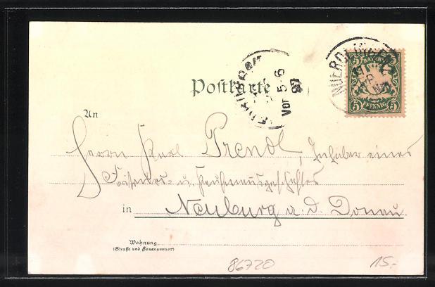 Lithographie Nördlingen, Hotel zur Krone, Neues Schulhaus, Rathaus 1