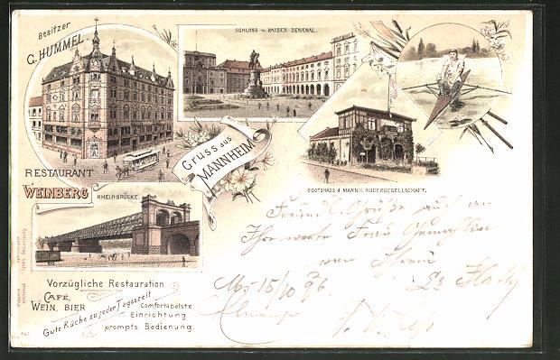 Lithographie Mannheim, Restaurant Weinberg von G. Hummel, Bootshaus der Mannheimer Rudergesellschaft 0