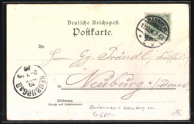 Lithographie Mannheim, Restaurant Weinberg von G. Hummel, Bootshaus der Mannheimer Rudergesellschaft 1