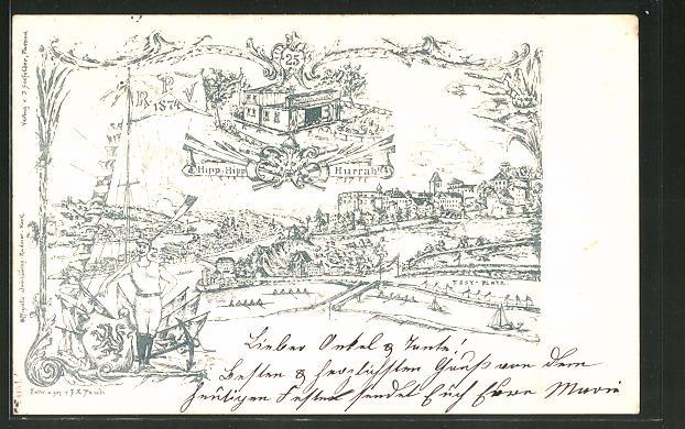 Lithographie Passau, Festkarte 25 Jahre R. P. V. 1874, Bootshaus 0