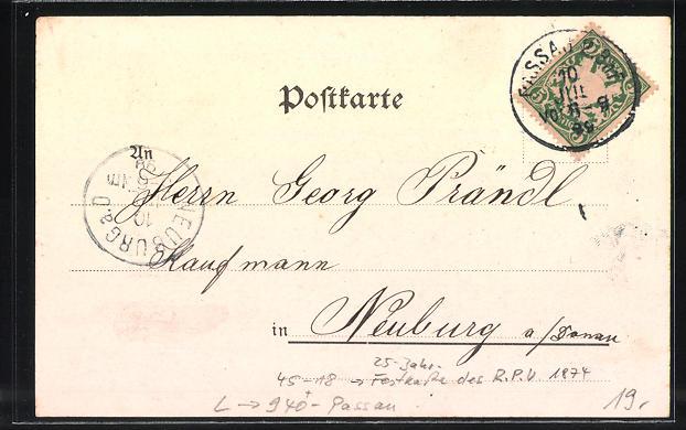Lithographie Passau, Festkarte 25 Jahre R. P. V. 1874, Bootshaus 1