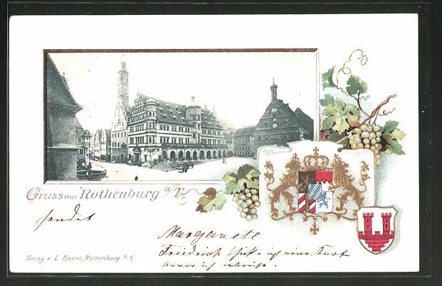 Passepartout-Lithographie Rothenburg, Marktplatz mit Rathaus, Wappen und Weintrauben