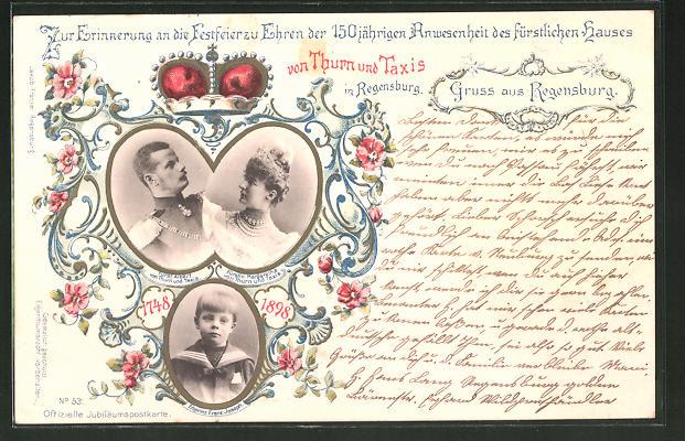 AK Regensburg, 150 jährige Anwesenheit des Fürstenhauses von Thurn & Taxis, Fürst Albert, Fürstin Margaretha