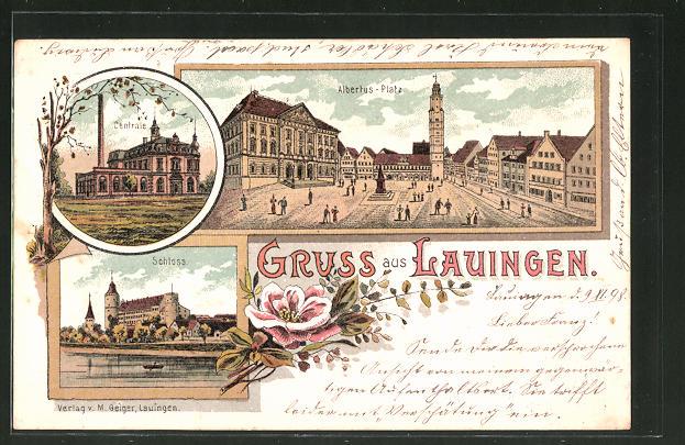Lithographie Lauingen, Schloss, Albertus-Platz, Centrale