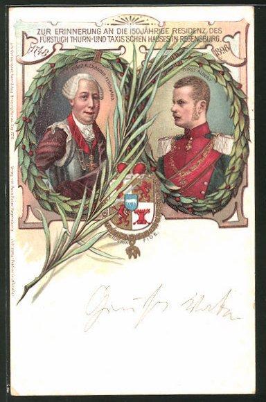 Künstler-AK Regensburg, 150 jährige Residenz des Fürstenhauses von Thurn & Taxis in der Stadt 1898, Fürst Albert