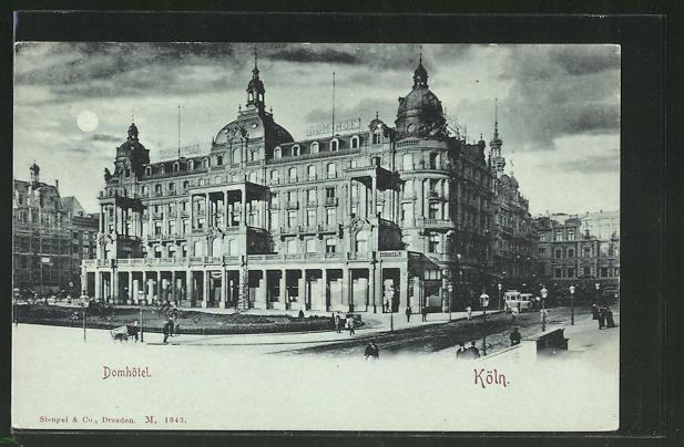 Mondschein-AK Köln, Strassenleben am Domhotel 0