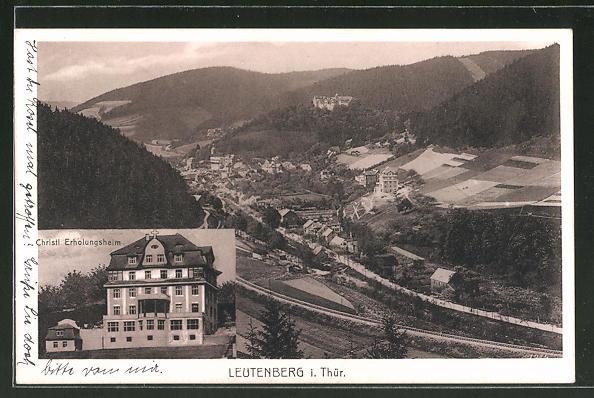 AK Bad Leutenberg / Thür, Christl. Erholungsheim, Ortspanorama vom Berg aus gesehen