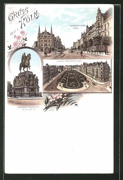 Lithographie Köln-Neustadt, Blick auf Hohenzollern-Ring, Denkmal Friedrich Wilhelm III. u. Partie am Kaiser Wilhelm Ring