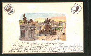 Passepartout-Lithographie Berlin, Kaiser Wilhelm Denkmal, Wappen