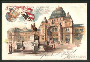 Lithographie Nürnberg, Neuer Bahnhof und Prinzregenten-Denkmal