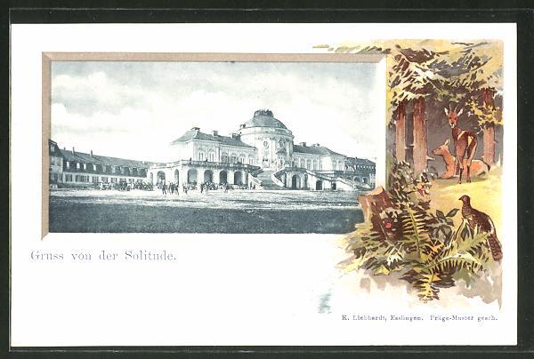 Passepartout-Lithographie Stuttgart, Schloss Solitude, Passepartout mit Rehen 0