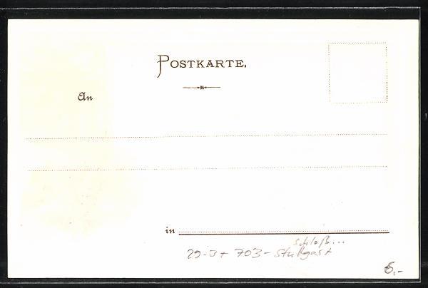 Passepartout-Lithographie Stuttgart, Schloss Solitude, Passepartout mit Rehen 1