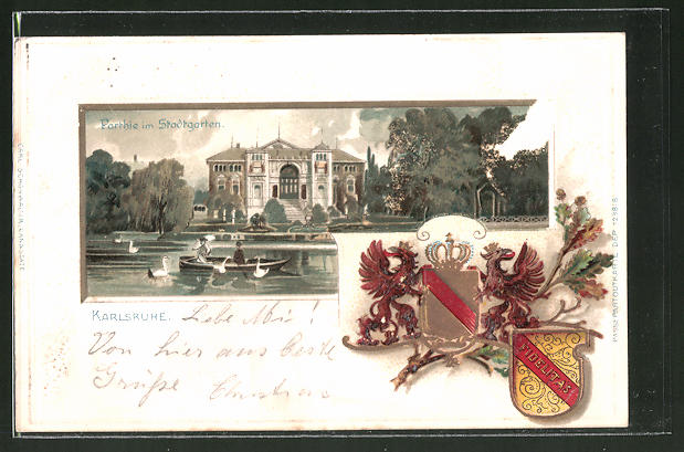 Passepartout-Lithographie Karlsruhe, Stadtgarten, Wappen