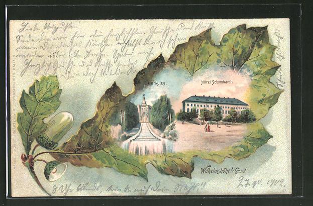 Passepartout-Lithographie Kassel, Wilhelmshöhe, Hotel Schombardt, Eichenblatt