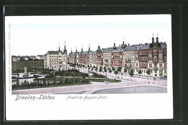 Goldfenster-AK Dresden-Löbtau, Friedrich August-Platz, Häuser mit leuchtenden Fenstern