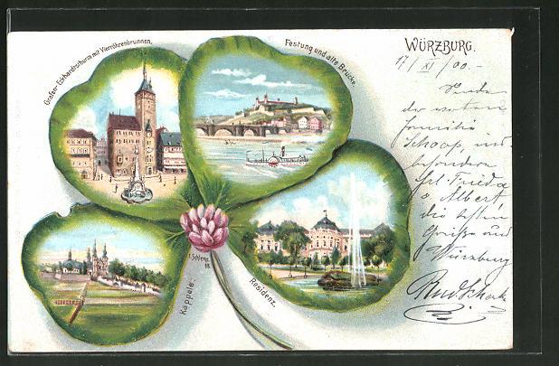 Passepartout-Lithographie Würzburg, Kleeblatt mit Ortsansichten
