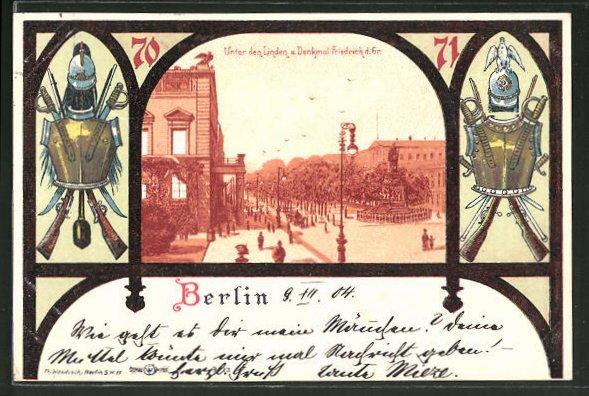 Lithographie Berlin, Unter den Linden, Ortspartie-Rahmen mit Brustharnisch 0