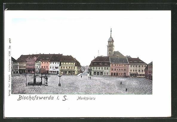 Goldfenster-AK Bischofswerda, Marktplatz, Häuser mit leuchtenden Fenstern