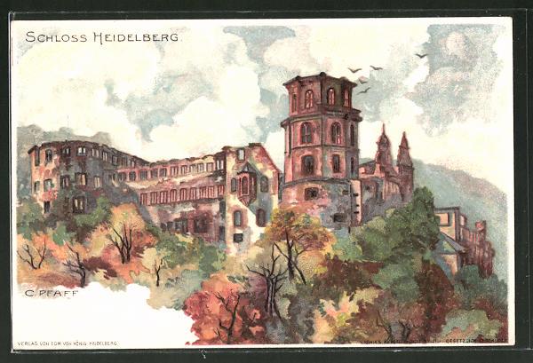 Künstler-AK C. Pfaff: Heidelberg, Schloss im Herbst