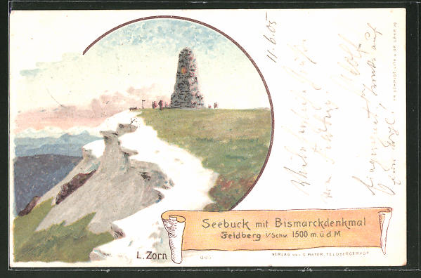 Künstler-AK Ludwig Zorn: Feldberg, Seebuck mit Bismarck-Denkmal
