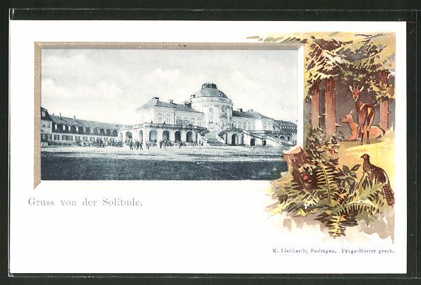 Passepartout-Lithographie Stuttgart, Schloss Solitude, Rehe, Rebhuhn