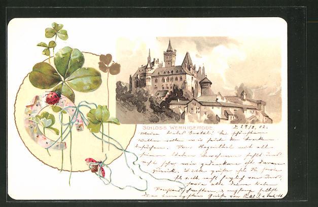 Passepartout-Lithographie Wernigerode, Schloss, Kleeblatt, Marienkäfer