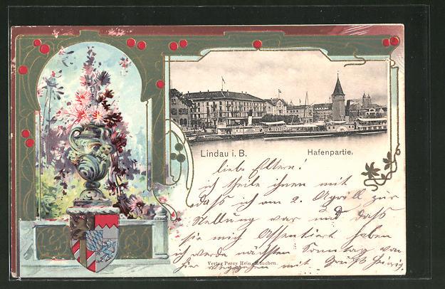 Passepartout-Lithographie Lindau, Hafen, Blumen, Wappen