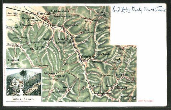 Lithographie Oppenau, Landkarte der Umgebung, Wilde Reneh