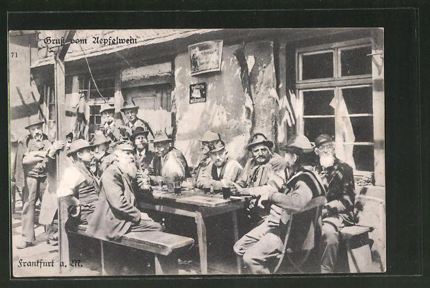 AK Frankfurt-Sachsenhausen, Gruss aus der Apfelwein-Schenke